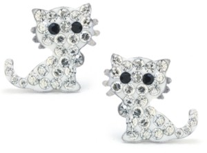 Giani Bernini Clear Pave Crystal Cat Stud Earrings set in Sterling Silver