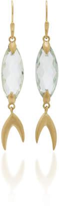 Annette Ferdinandsen Large Simple Fish 18K Gold Prasiolite Earrings
