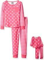 Dollie & Me Big Girls' Hearts and Stripes Print Snugfit Sleepwear Set
