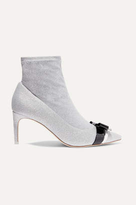 Sophia Webster Andie Bow Leather-trimmed Glittered Stretch-knit Ankle Boots - Silver