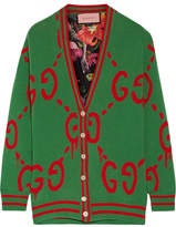 Gucci Reversible Wool Jacquard-knit And Printed Silk-twill Cardigan - Green