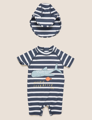 Marks and Spencer 2pc Whale Stripe Swim Set (0-3 Yrs)