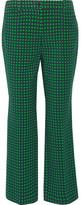 Michael Kors Polka-dot Stretch-wool Straight-leg Pants - Green