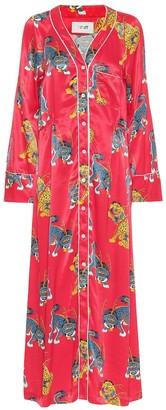 Kirin Printed satin shirt dress