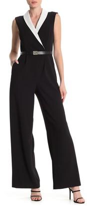 Modern American Designer Shawl Collar Colorblock Wide Leg Jumpsuit