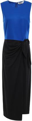 Diane von Furstenberg Knotted Two-tone Jersey Midi Dress
