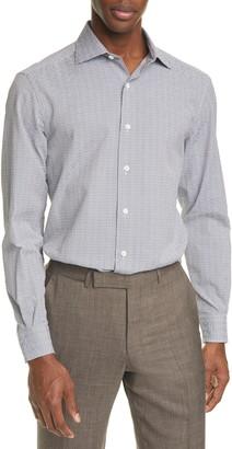 Ermenegildo Zegna Classic Fit Check Seersucker Button-Up Shirt