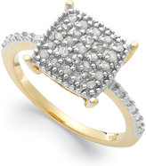Townsend Victoria 18k Gold over Sterling Silver Diamond Square Ring (1/4 ct. t.w.)