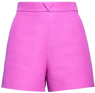 Valentino V Logo Wool & Silk Couture Shorts