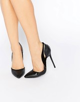 Daisy Street Black Cut Out Two Part Court Shoes