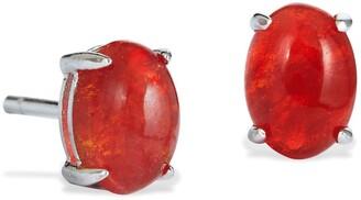 Savvy Cie Sterling Silver Mexican Fire Opal Stud Earrings