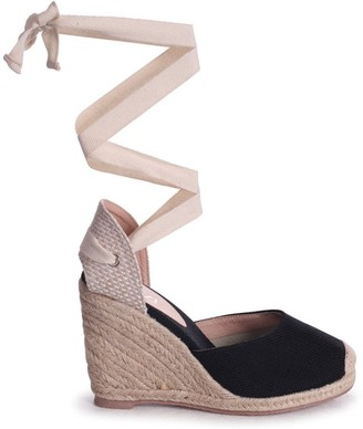 Linzi MEGHAN - Black Canvas Closed Toe Espadrille Wedge With Cream Tie Up Straps