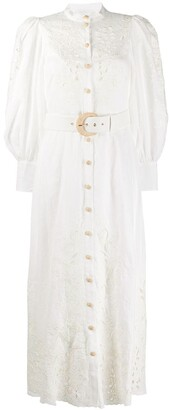 Zimmermann Peggy floral-embroidery linen dress