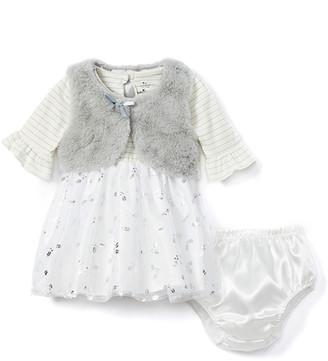 Baby Starters Girls' Casual Dresses Silver - Silver Stripe & Floral Dress & Vest Set - Infant