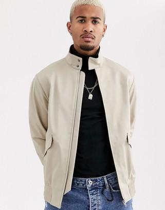 Topman smart harrington jacket in stone