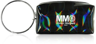 Mm6 Maison Martin Margiela Black Patent Leather Clutch w/Metal Handle