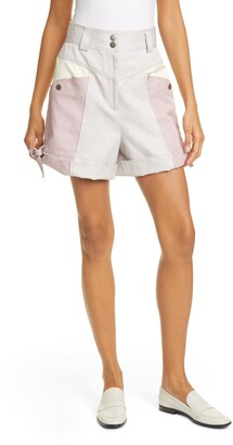 Rebecca Taylor Colorblock Linen & Cotton Blend Shorts