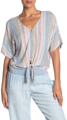 Cloth & Stone Stripe Print Tie Front Top