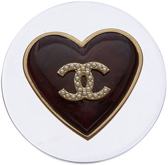 Chanel Gold-Tone Clear Acrylic Heart Pin
