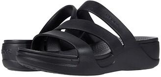 Crocs Monterey Strappy Wedge (Black) Women's Shoes