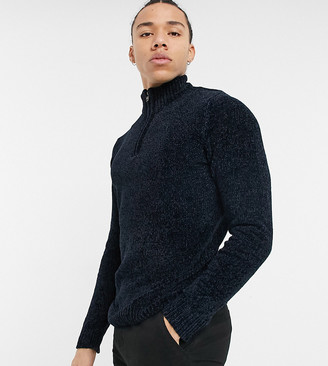 French Connection Tall chenille half zip sweater in navy