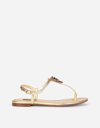 Dolce & Gabbana Nappa Leather Devotion Thong Sandals