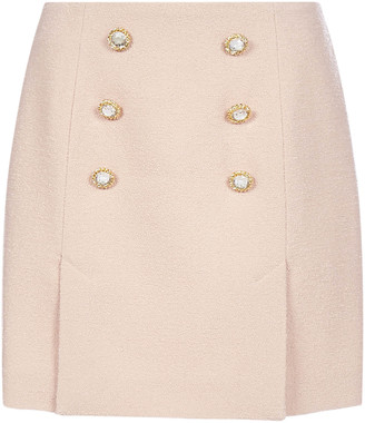 Alessandra Rich Buttoned Virgin Wool Mini Skirt