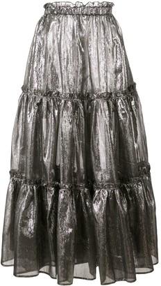 Lisa Marie Fernandez ruffle details metallic skirt