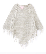 Pink Angel Gray Fringe Poncho - Infant