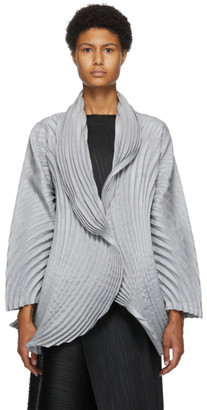 Issey Miyake Grey Wool Circle Pleats Cardigan