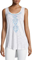 Neiman Marcus Embroidered Sheer High-Low Tunic, White