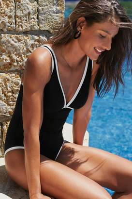 Next Womens Black/White Piped Edge Swimsuit - Black