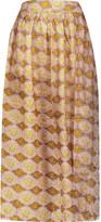Zimmermann Belle pleated printed silk midi skirt