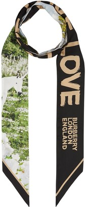 Burberry Montage-print skinny scarf