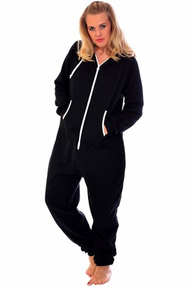 Nouvelle Collection Womens Plus Size All in One Onsie Ladies Thick Warm Fleece Jumpsuit Hooded Zip Closure Ribbed Cuffed Black Large