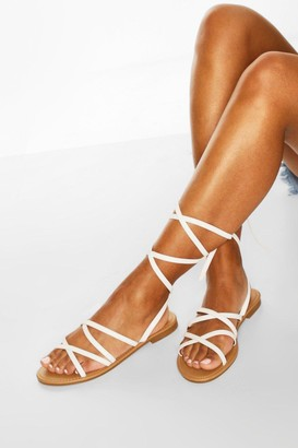 boohoo Strappy Ankle Tie Flat Sandals
