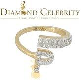 Diamond celebrity 10K Gold Finish Alphabet 'P' Women's Silver Ring Size 7 with Lab Created Diamonds