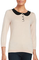 CeCe Three Quarter Sleeve Crewneck Sweater