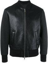 Neil Barrett Tattooed Statue leather bomber jacket - men - Lamb Skin/Polyamide/Polyester/Viscose - S