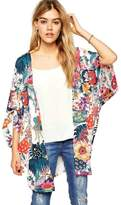 Tenworld Women Floral Printed Loose Chiffon Kimono Cardigan Blouse Top (S)