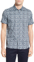 Ted Baker &Leafit Leaf& Print Modern Slim Fit Short Sleeve Sport Shirt