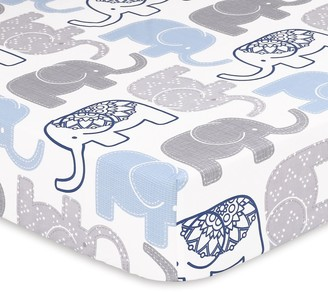 The Peanut Shell The Little Peanut Navy Elephant Fitted Crib Sheet
