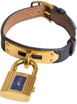 One Kings Lane Vintage Hermès Kelly Watch Navy Lizard & Gold