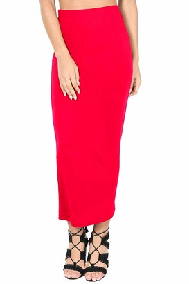 Fashion Star Womens High Waist Pencil Fit Bodycon Midi Skirt Red Plus Size (UK 16/18)