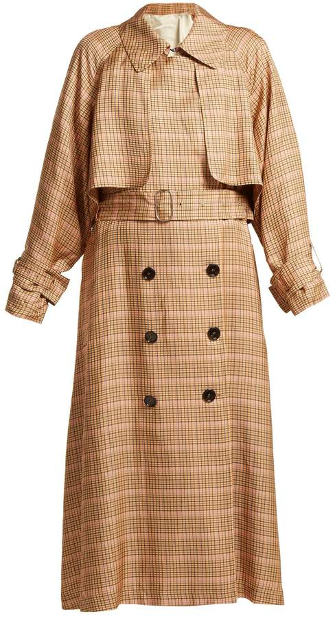 Golden Goose Vela checked double-breasted trench coat