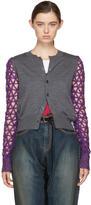 Junya Watanabe Grey and Purple Geometric Sleeves Cardigan
