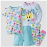 Gerber Toddler Girls' 4-Piece Bee PJ Set - Light Blue
