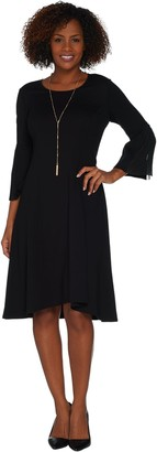 Halston H By H by Petite Ponte Fit & Flare Dress w/ Pleated Sleeves