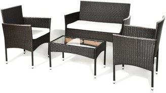 Latitude Run Annchen Patio Rattan 4 Piece Sofa Seating Group with Cushions
