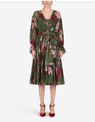 Dolce & Gabbana Midi Dress In Baroque Rose-Print Chiffon